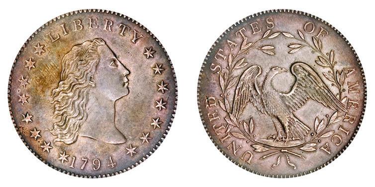 10. Первый доллар США, 1794 год (usacoinbook.com)