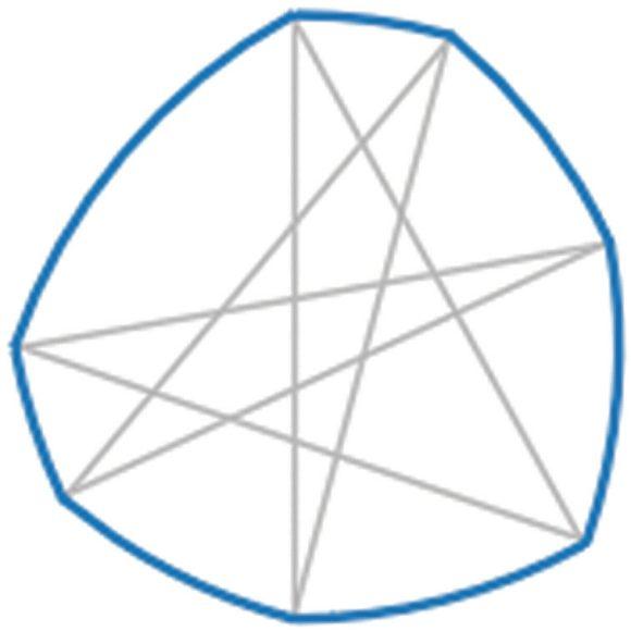 15. Неправильный семиугольник постоянного диаметра, построенный на звезде с равными сторонами («Википедия»)