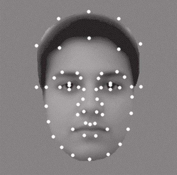 Рис. 1. Точки на фотографии — маркеры, позволяющие описать геометрию лица (www.caltech.edu)