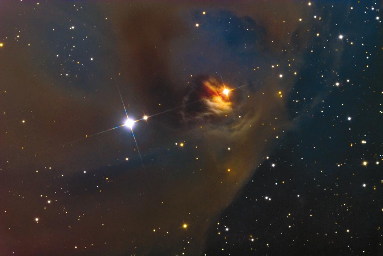 Оранжевая звезда в правой части снимка, окруженная туманностью NGC 1555, — переменная звезда Т Тельца, давшая имя целому классу молодых звезд. Как ни странно, сама Т Тельца является довольно нетипичным представителем этого класса. Фото: Adam Block/Mount Lemmon SkyCenter/University of Arizona с сайта www.caelumobservatory.com