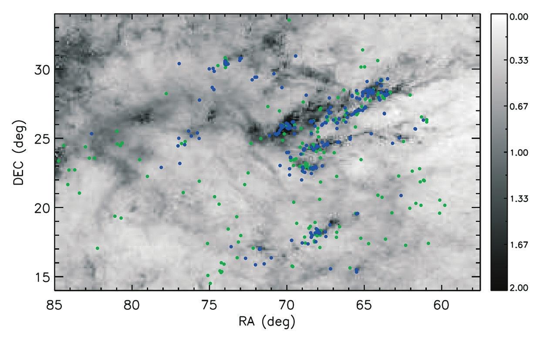 Распределение звезд с дисками (синие кружки) и бездисковых звезд (зеленые кружки) в комплексе Тельца — Возничего. В качестве фона использовано распределение пыли (соответствующее распределению молекулярного газа) [1]