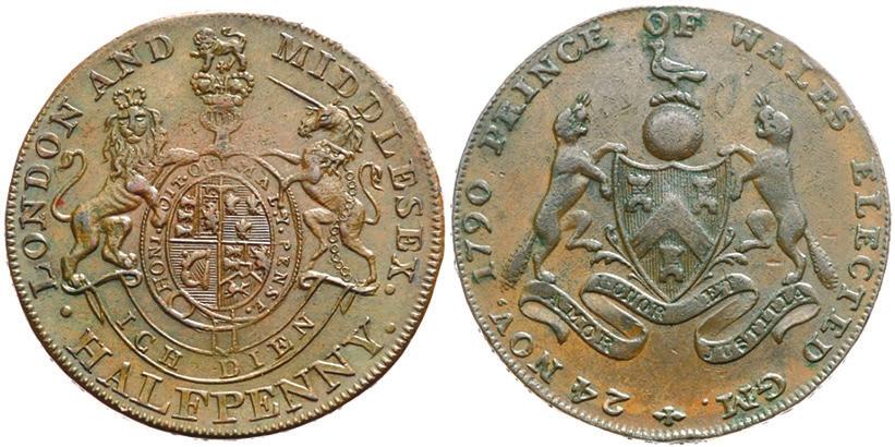 Полпенса, 1795 года. Лицевая сторона — герб принца Уэльского, оборотная сторона — герб вольных каменщиков