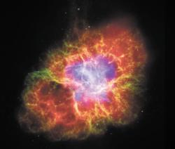Самый знаменитый остаток сверхновой - Крабовидная туманность. Благодаря китайским и арабским астрономам точно известно, когда произошел взрыв - 4 июля 1054 г. Туманность расширяется со скоростью около 1000 км в секунду, и ее диаметр достиг примерно 2 парсек. Снимок сделан с помощью трех космических телескопов: «Хаббл» (видимый свет, зеленый и темно-синий цвет), «Спитцер» (инфракрасный диапазон, красный цвет) и «Чандра» (мягкий рентген, светло-голубой цвет).