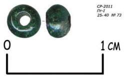 4. Стеклянная бусина. Петропавловский раскоп XII-XIII века