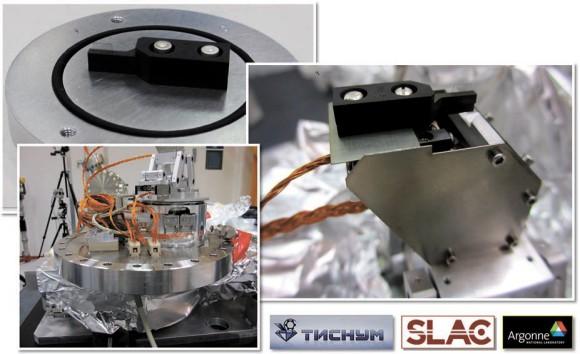 Рис. 3. Алмазная пластина, смонтированная в монохроматоре лазера на свободных электронах