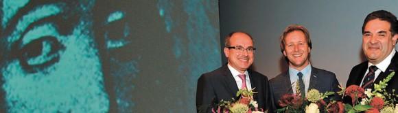 Спиноза, Берт Векхайзен, Пиек Воссен и Михаил Кацнельсон (слева направо)