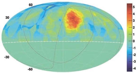Превышение потока над изотропным в круге радиусом 20 градусов с центром в данной точке (в стандартных отклонениях). Фото: Коллаборация Telescope Array, Astrophysical Journal Letters