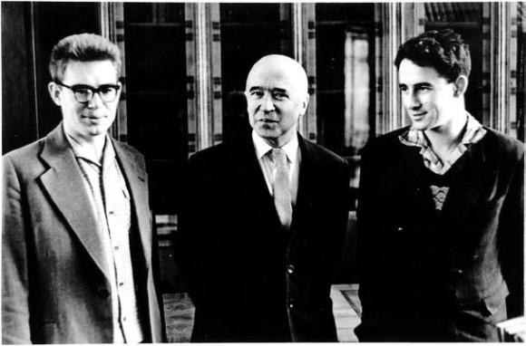 А.А. Кириллов, ректор МГУ И.Г. Петровский и В.И. Арнольд. 1961 г.