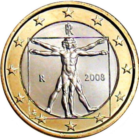 Рис. 2. Один евро — знаменитый рисунок Леонардо да Винчи в галерее Академии в Венеции. Рисунок изображает пропорции человеческого тела