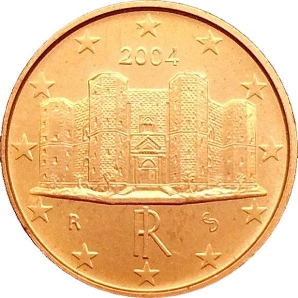Рис. 8. Один цент — массивный восьмиугольный замок Кастель-дель-Монте. Замок находится в 17 км к югу от города Андрия в Южной Италии). Построен в готическом стиле в 1240–1246 годах императором Священной Римской империи Фридрихом II Гогенштауфеном (1194–1250)