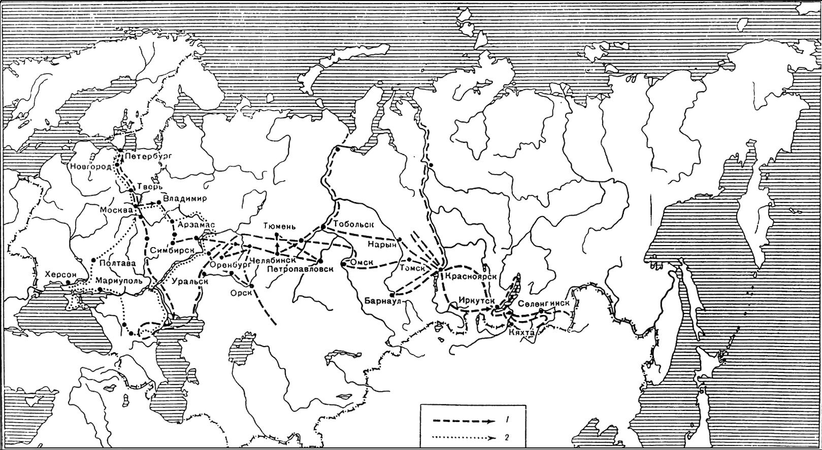Карта путешествия П. С. Палласа по России (1768–1774)