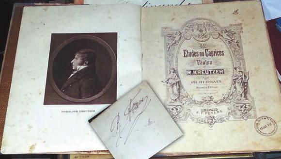 Нотная запись Крейцеровой сонаты с автографом автора