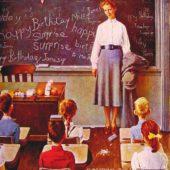 День рождения учительницы. Картина маслом Нормана Роквелла, 1956. С сайта en.wahooart.com