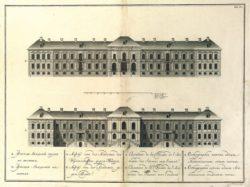 Фасад Академии наук на восток. XVIII в. Гравюра и рисунок И. Я. Шумахера