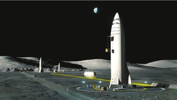 BFR (Big Falcon Rocket) на Луне. Из презентации Илона Маска