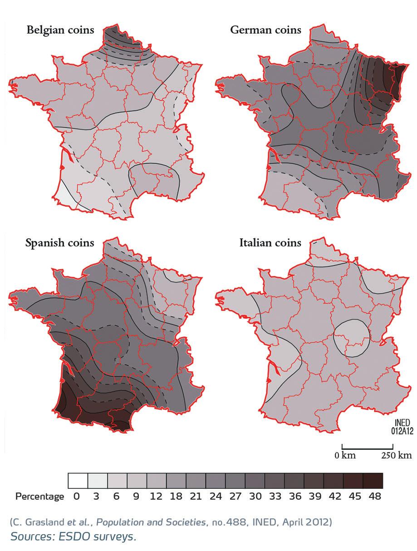 5. Монеты разных стран во Франции: доля в зависимости от географии [5]