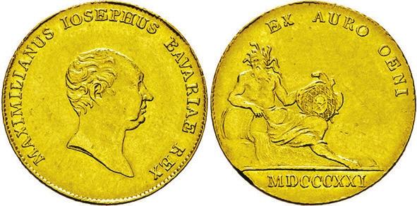 Рис. 2. Золотой дукат баварского короля Максимилиана I Иосифа (1821) с надписью «Из золота Дуная»