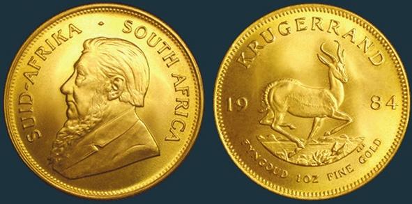 Рис. 7. Крюгерранд. На монете — изображение Пауля Крюгера (президент ЮАР в 1883—1900 годах), антилопы и надпись на африкаанс и на английском «1 унция высокопробного золота»