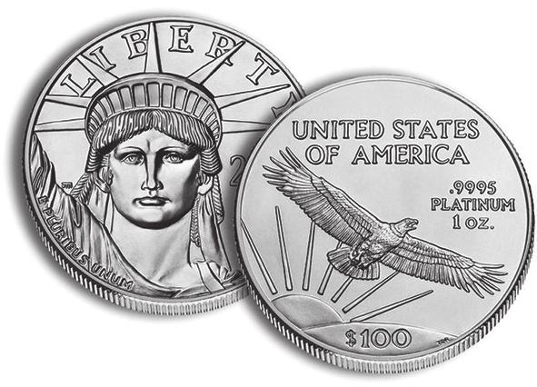 Рис. 6. Американская платиновая монета «Орел» (2014 год; номинал — 100 долл., масса — 1 унция, проба — 999,5)