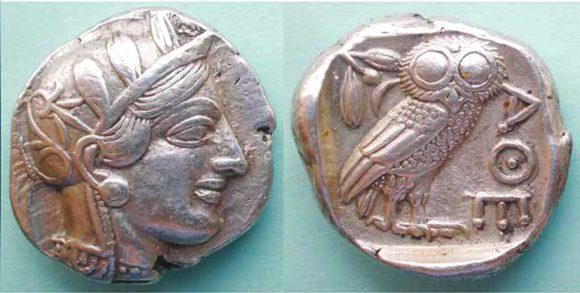 Рис. 1. Изображение Афины на античной греческой монете