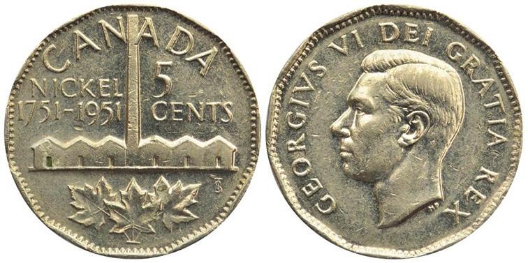 Рис. 1. Пятицентовая монета из никеля (Канада)