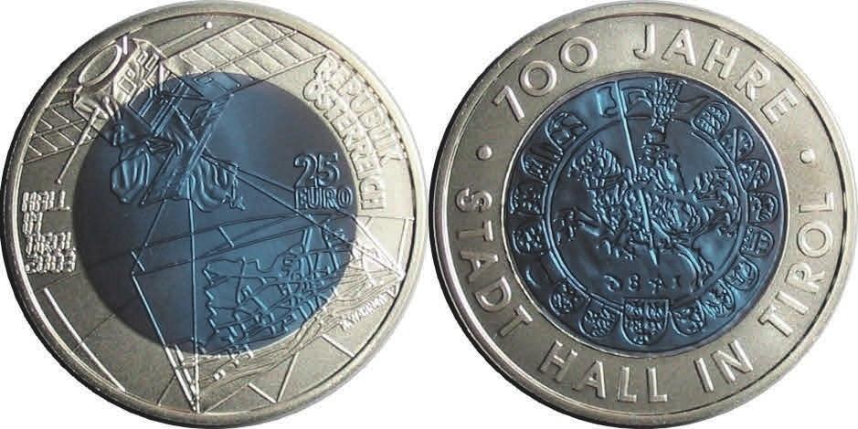 Рис. 2. Первая монета с ниобием. Австрия (2003)