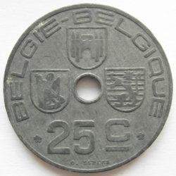 Рис. 2. Монета Бельгии из цинка (25 сантимов, 1942)