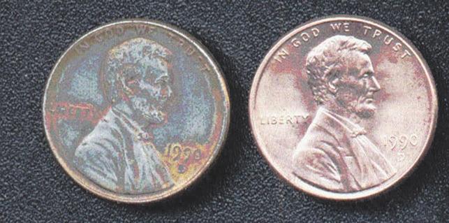 Рис. 5. Монета США (1 цент, 1990) с частично снятым медным покрытием (слева)