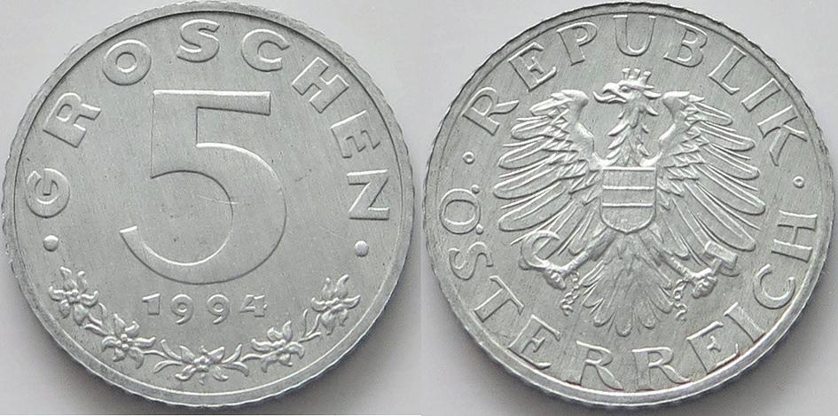 Рис. 4. Монета Австрии из цинка (5 грошей, 1994)
