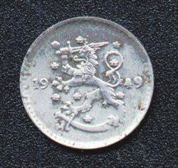 Рис. 1. Монета Финляндии, 1 марка (1949)