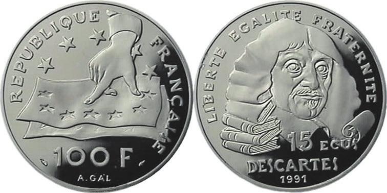 Рис. 6. Французская серебряная монета с портретом Декарта
