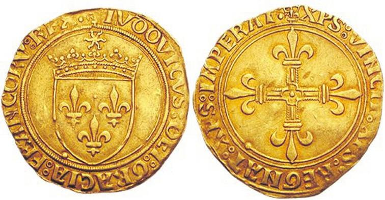 Рис.7. Золотой экю Людовика XII (1498)