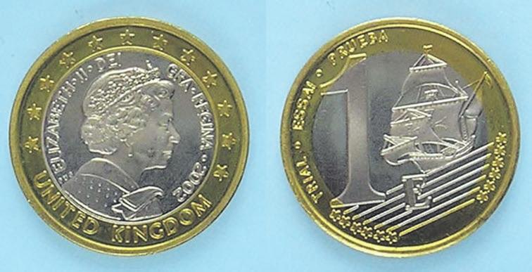 Рис. 8. Биметаллическая «пробная монета» 1 евро Великобритании