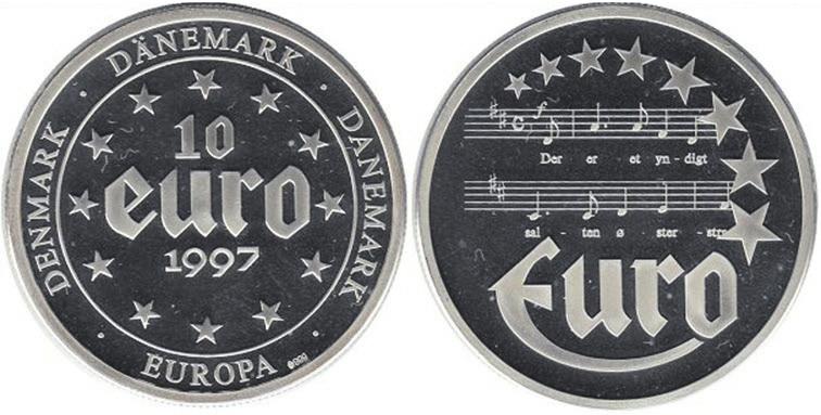 Рис. 9. Серебряная датская монета со словами и нотами начала гимна Дании