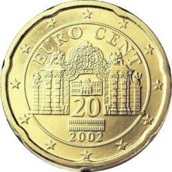 Рис. 7. Австрия, 20 центов. Обратите внимание на необычную форму монеты; это сделано для удобства слабовидящих