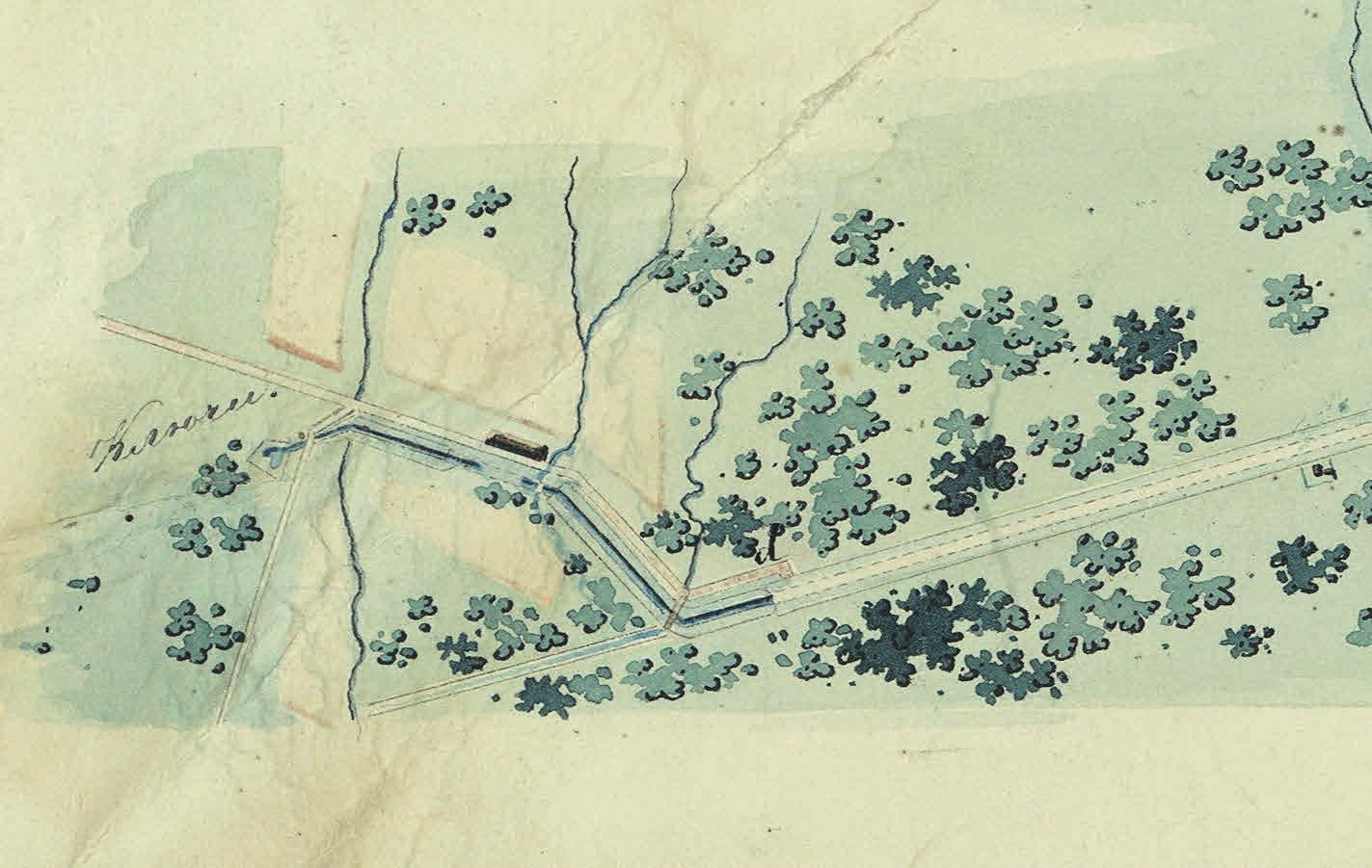 Фрагмент схемы Таицкого водопровода (1833). РГИА. Ф. 1487. Оп. 35. Д. 207. Л. 2