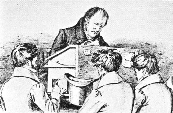 Гегель с учениками в Берлине в 1828 году. Литография