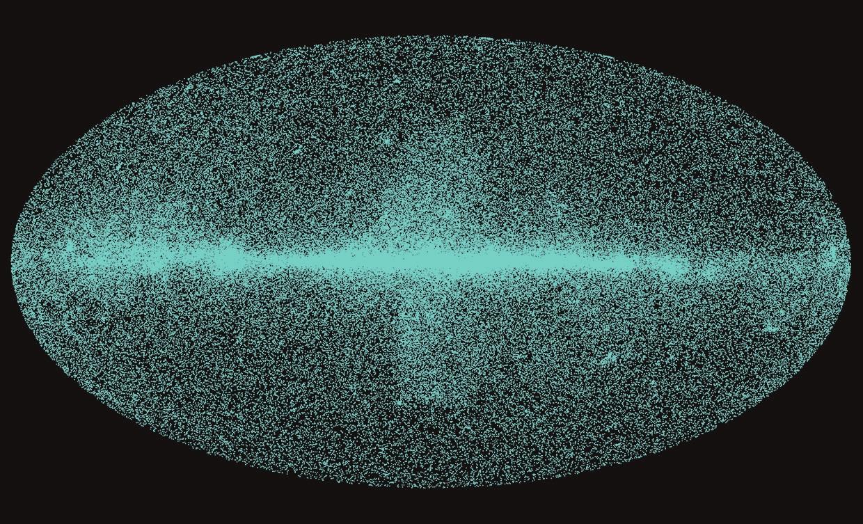 рис.2. Карта неба в гамма-квантах энергии выше 6 ГэВ. Видны «пузыри Ферми»— свидетельство былой активности ядра Галактики