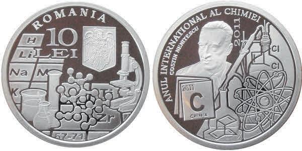 Небольшой фрагмент периодической таблицы изображен на серебряной (999-я проба) румынской монете, отчеканенной в честь Года химии (2011) очень маленьким тиражом — 500 экз.