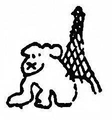 Вот письмо из Парижа. Щенок около башни Эйфеля.