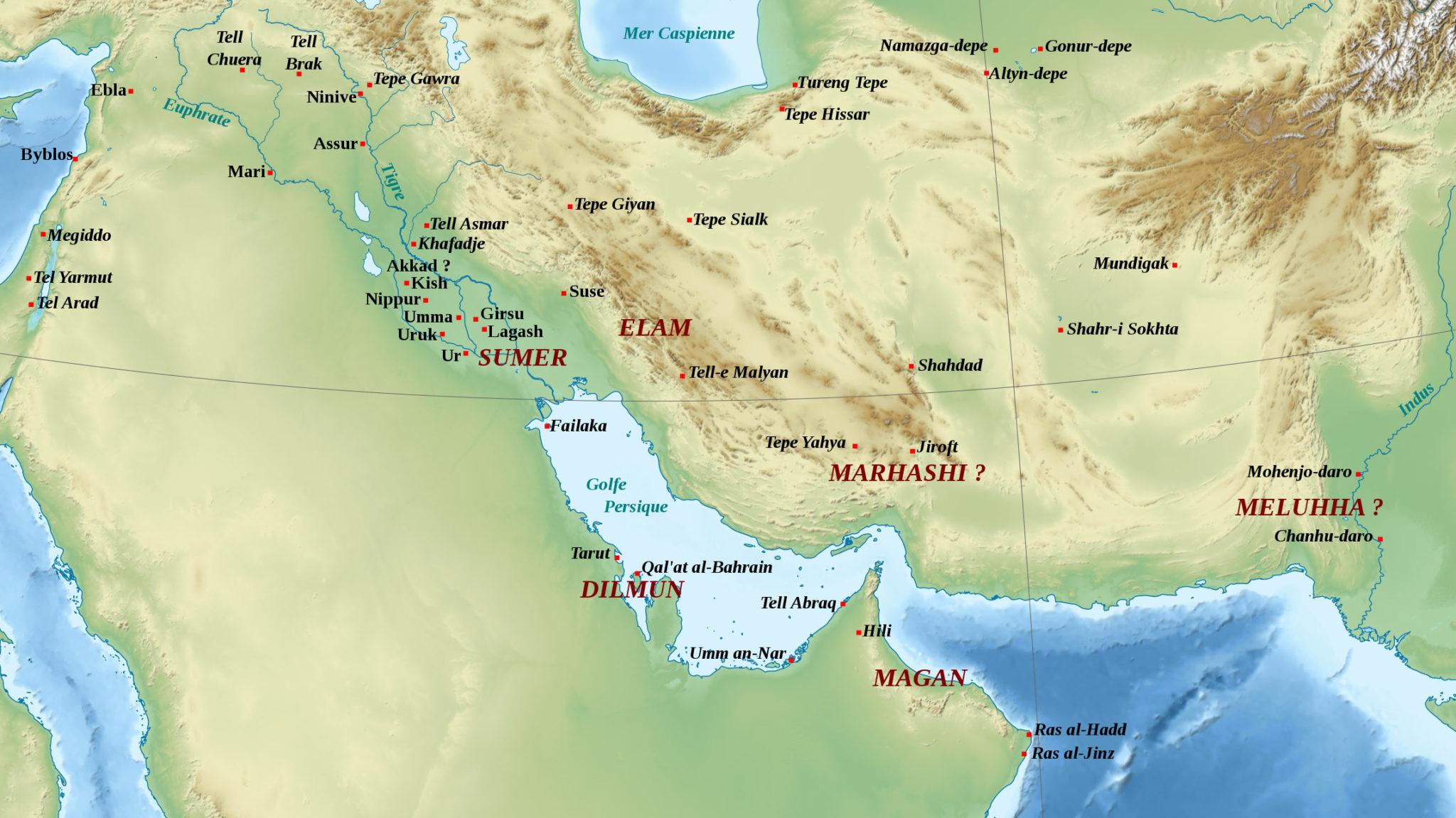 Рис. 1. Ближний Восток во второй половине III тыс. до н. э. Исторические периоды: раннединастический, царство Аккада, период III династии Ура («Википедия»)