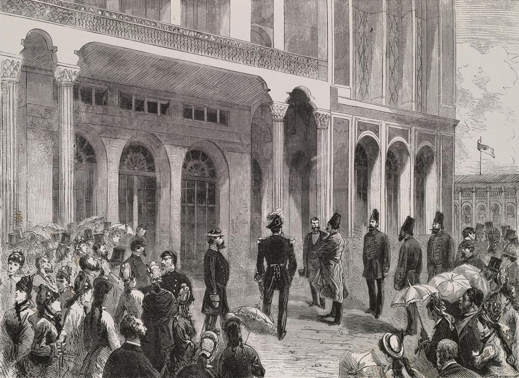 Шах Персии перед павильоном своей страны в Трокадеро на Всемирной выставке 1878 года