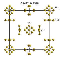 Модель кристаллической структуры β-F2 при температуре 48 К [2]