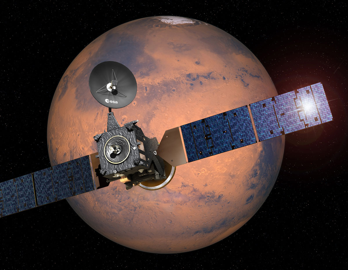 Trace Gas Orbiter и Schiaparelli приближаются к Марсу (ESA)