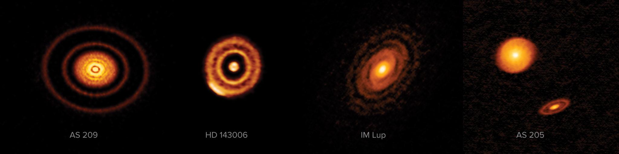 Рис. 3. Демонстрация возможностей интерферометрии в миллиметровом диапазоне:  снимки протопланетных дисков, сделанные отдельным узлом сети EHT — интерферометром ALMA