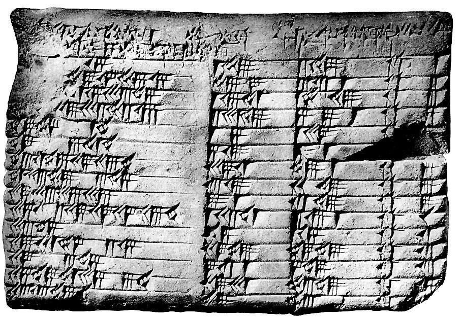 Вавилонская табличка Plimpton 322. Найдена в Нижнем Междуречье, предположительно на месте древнего города Ларса.
