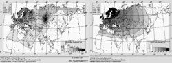 Рис. 1. Карта распределения частот дефектного варианта гена CCR5 в популяциях Евразии и Северной Африки. Слева — фактическое распределение, справа — усредненное (источник: [6])