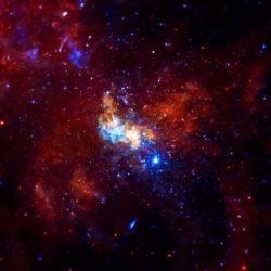 Сверхмассивная черная дыра Стрелец A* (Sagittarius A*) и ее окрестности. Изображение на основе данных орбитального телескопа «Чандра»