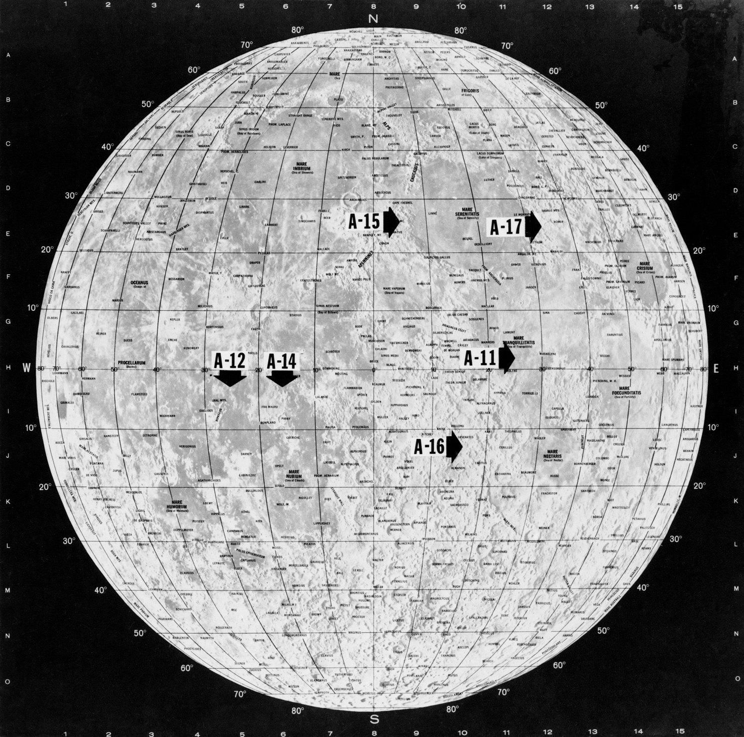 Карта Луны с указанием мест высадок шести экспедиций программы «Аполлон» (NASA, S72-32719)