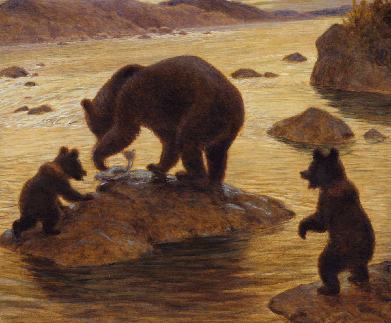 В. А. Ватагин. Медведь за рыбной ловлей. 1932. Дарвиновский музей